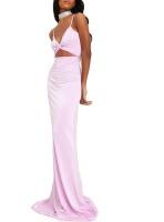 I Saw it First Ladies Lilac Satin Cami Twist Front Cut Out Maxi Dress