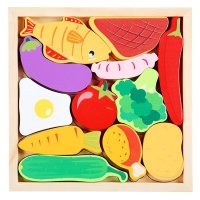 12 Pieces of Childrens Educational Wooden Vegetables 3D Puzzle Toy Set