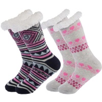 Packthermal Slipper Socks With Non Slip Grippers Assorted 2 Pack