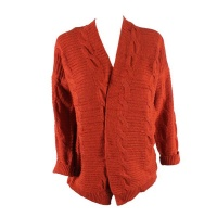 Blackcherry Burnt Orange Pattern Cardigan