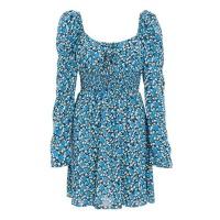 Quiz Ladies Royal Blue Floral Shirred Dress Royal Blue