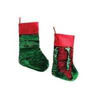 2 x 35cm Red Green Sequins Stocking