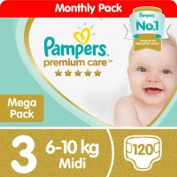 pampers premium care size 3 mega pack 120 nappies nappy