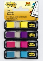 3m post it flags 4 pack bright blue purple yellow pink art supply
