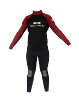 coolwave junior full wetsuit redblack surfing