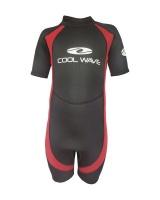coolwave junior short wetsuit redblack surfing