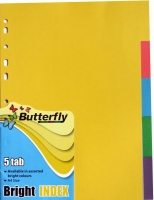 Butterfly A4 File Dividers Bright Board 5 Tab