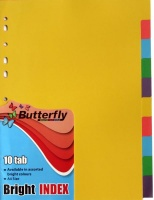 Butterfly A4 File Dividers Bright Board 10 Tab