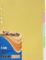 Butterfly A4 File Dividers Pastel Board 5 Tab