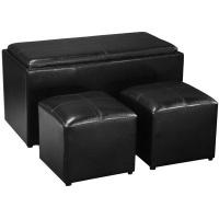 hazlo 3 piece pu leather coffee tabletray storage ottoman entertainment center