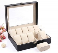 10 Compartment PU Leather Watch Display Box Black