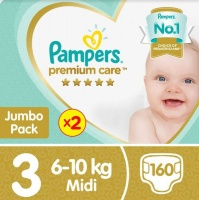 pampers premium care size 3 twin jumbo pack 2x80 nappies nappy