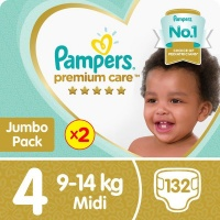 pampers premium care twin jumbo pack 2 x 66 nappies nappy