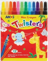 amos 12 twisters retractable wax crayons crayon