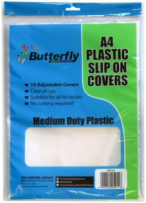 Butterfly A4 Plastic Slip On Clear Covers 10s