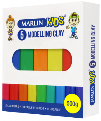 Marlin Kids Modelling Clay 500g 5 Standard Colours