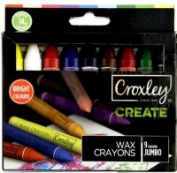 croxely create 14mm jumbo wax crayons box of 9 colours crayon