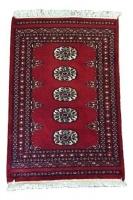 authentic hand knotted karachi bokhara carpet red 90x60cm home decor