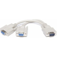Raz Tech VGA Splitter Cable 1 Male 15 pin to Female 2 VGA Adapter 15 pin White