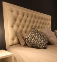 diamond tufted white border queen size headboard bed