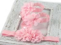 chiffon flower barefoot sandals and headband set in light