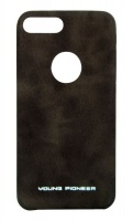 young pioneer pu leather back cover for iphone 7 brown