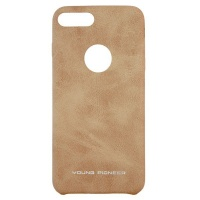 young pioneer pu leather back cover for iphone 7 plus tan