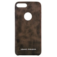 young pioneer pu leather back cover for iphone 7 plus brown