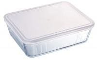 pyrex 15 liter cook and freeze glass rect dish with plastic food storage