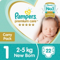 pampers premium care size 1 carry pack 22 nappies nappy