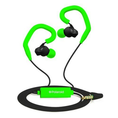Photo of Polaroid SA Polaroid Sports Earbuds with built in Mic and Removable Ear Hooks - Green