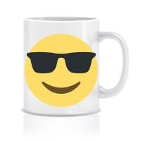 emoji mug cool face with sunglasses