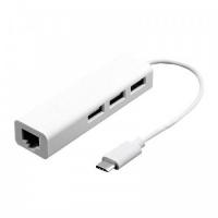 Tuff Luv USB C Ethernet Adapter with 3 USB Port 20 HUB White