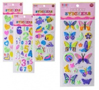 bulk pack 15 x puffy stickers assorted neon colours sticker
