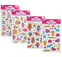 bulk pack 8 x sparkle embossed foil stickers assorted sticker