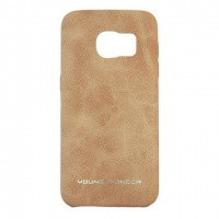 young pioneer pu leather back cover for samsung s7 tan