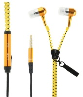 zipper earphones yellow cell phone headset