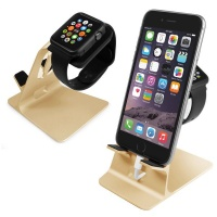 tuff luv orzly duostand for apple watch and iphone gold