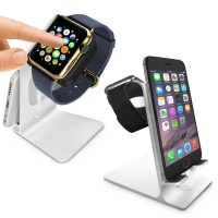 tuff luv orzly duostand for apple watch and iphone silver
