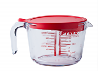 pyrex 1 litre classic glass measuring jug with lid food preparation