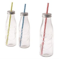 bulk pack x9 glass drinking bottle straw assorted 450ml water coolers filter