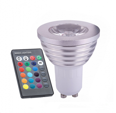 LED Colour Changing RGB Light Bulb with Wireless IR Remote Control GU10 220V