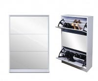 Softy Home Mirror Shoe Cabinet with 3 Doors White