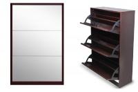 Softy Home Mirror Shoe Cabinet with 3 Doors Mahogany
