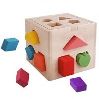 13 Hole Wooden Cube Puzzle Maze