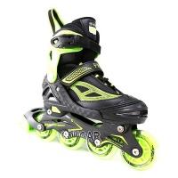 Cougar Roller Skates Pro Stars Inline Skates with Illuminating Front Wheels Green