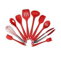 10 piece nonstick silicone kitchen utensils set red hob