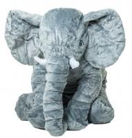 Elephant Long Plush Pillow Grey