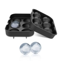 Gin Tribe 6 Giant Ball Boulders for Gin Ice Ball Tray Black