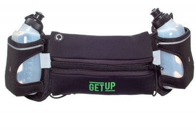 GetUp Running Boost Belt with Two Water Bottles Black